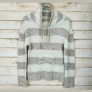 Poof! Striped Tan & Cream Knit Sweater